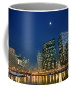 Chicago River With Skyline And Moon Coffee Mug