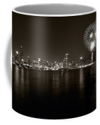Chicago Skyline Fireworks Bw Coffee Mug by Steve Gadomski