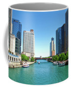 Chicago Tour Boats Parked On The River Coffee Mug