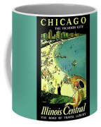 Chicago, Vacation City, Areal View On The Beach Coffee Mug