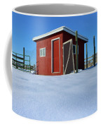 Chicken Coop In Snow Covered Field Coffee Mug