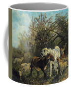 Child And Sheep In The Country Coffee Mug
