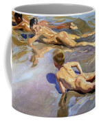 Children On The Beach Coffee Mug by Joaquin Sorolla y Bastida