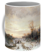 Children Playing In A Winter Landscape Coffee Mug