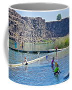 Children Playing In Dierkes Lake In Snake River Above Shoshone Falls Near Twin Falls-idaho  Coffee Mug