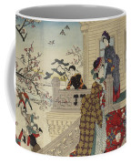 Children Playing In The Snow Under Plum Trees In Bloom Coffee Mug
