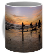Children Playing On The Beach At Sunset Coffee Mug by James Forte