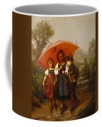 Children Under A Red Umbrella Coffee Mug