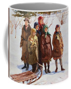 Children With A Sled Nikolai Petrovich Bogdanov-belsky Coffee Mug