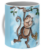 Childrens Whimsical Nursery Art Original Monkey Painting Monkey Buttons By Madart Coffee Mug