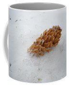 Chilly Pine Cone In Snow Coffee Mug