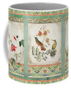 Triptych - Chinoiserie Vintage Hummingbirds N Flowers Coffee Mug
