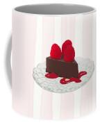 Chocolate Cake On Pink Stripes Coffee Mug