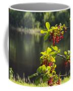 Chokecherries With River Bokeh Coffee Mug