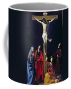 Christ On The Cross With The Virgin Mary Magdalene St John And St Francis Of Paola Coffee Mug by Nicolas Tournier