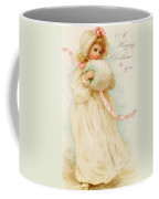 Christmas Card Depicting A Girl With A Muff Coffee Mug