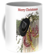 Christmas Cowboy Hat On Fence - Merry Christmas  Coffee Mug