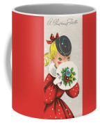 Christmas Greetings 1236 - Vintage Christmas Cards - Little Girl With Snow Ball Coffee Mug