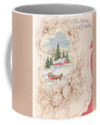Christmas Greetings 1251 - Vintage Christmas Cards - Snowy Cottage Coffee Mug