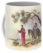 Christmas Illustration 1221 - Vintage Christmas Cards - Mother Mary With Infant Jesus Coffee Mug