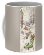 Christmas Illustration 1239 - Vintage Christmas Cards - Christmas Robins On Pine Leaves Coffee Mug