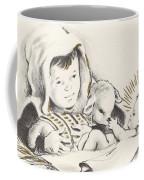Christmas Illustration 1248 - Vintage Christmas Cards - Infant Jesus On Crib Coffee Mug