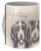 Christmas Illustration 1252 - Vintage Christmas Cards - Two Dogs Coffee Mug