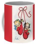 Christmas Illustration 1253 - Vintage Christmas Cards - Little Dog And Kitten Coffee Mug