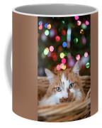 Christmas Kitty In A Basket Coffee Mug