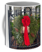 Christmas Ribbon On Iron Door Coffee Mug