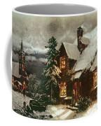Church And Cottage With Lighted Windows Coffee Mug