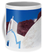 Church And Windmill In Santorini Greece Coffee Mug