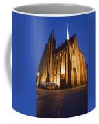 Church Of The Holy Cross By Night In Wroclaw Coffee Mug