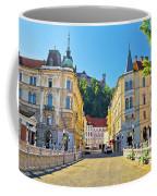 City Of Ljubljana View From Tromostovje Bridge Coffee Mug