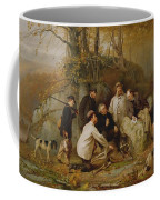 Claiming The Shot - After The Hunt In The Adirondacks Coffee Mug by John George Brown