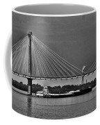 Clark Bridge And Barges In Black And White  Coffee Mug