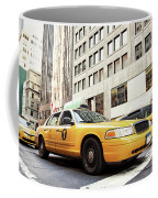 Classic Street View With Yellow Cabs In New York City Coffee Mug