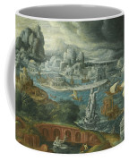 Classical Landscape With Ships Running Before A Storm Towards A Classical Harbour Probably Corinth Coffee Mug