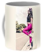 Classy Model In Elegant Fashion Outfit By Road Coffee Mug