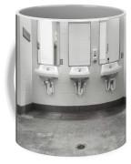 Clean Simple Public Washroom Sinks Mirrors Coffee Mug