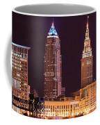 Cleveland Skyline Night Color - Downtown Buildings Coffee Mug