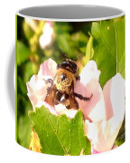 Close Up Bumble Bee Climbing Out Of Hibiscus Flower Coffee Mug