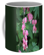 Close Up Of Peacock Pink Bleeding Hearts On Hunter Green Foliage 2 Coffee Mug