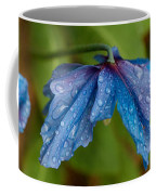 Close-up Of Raindrops On Blue Flowers Coffee Mug