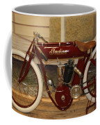 close up of red Indian motorcycle   # Coffee Mug