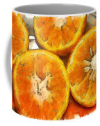 Close Up Of The Cut Section Of Some Oranges Coffee Mug