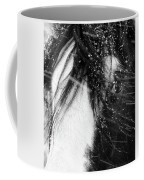 Close Up Portrait Of A Horse In Falling Snow Coffee Mug