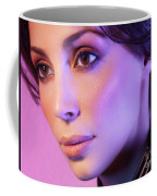 Closeup Beauty Portrait Of Woman Face In Colored Purple Light Coffee Mug