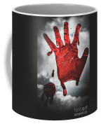 Closeup Of Scary Bloody Hand Print On Glass Coffee Mug