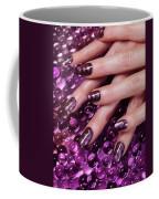Closeup Of Woman Hands With Purple Nail Polish Coffee Mug